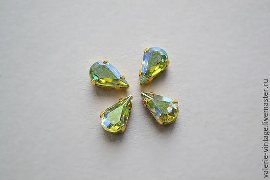Для украшений ручной работы. Ярмарка Мастеров - ручная работа. Купить Винтажные кристаллы Swarovski 8х4,8 мм. цвет Peridot AB. Handmade.