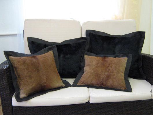 подушки интерьерные из меха телёнка и кашемира. Под заказ.