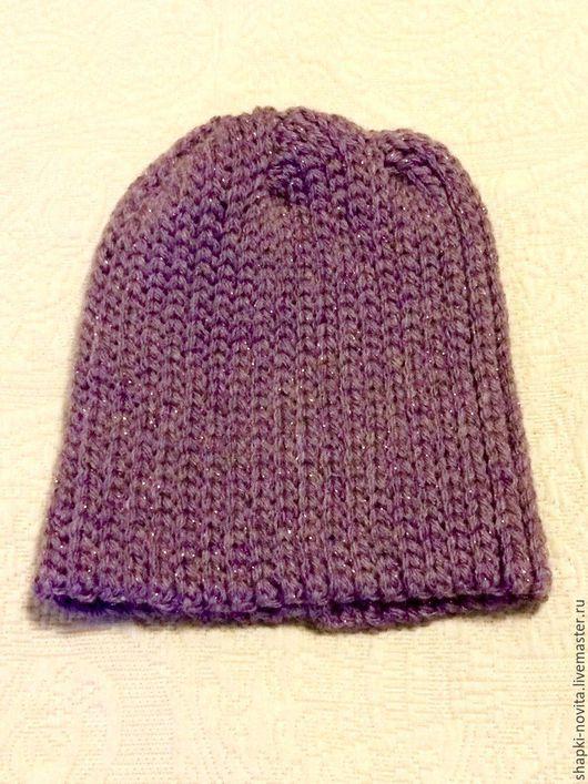 Вязаная зимняя шапка `Зимушка-зима` сиреневая shapki-novita