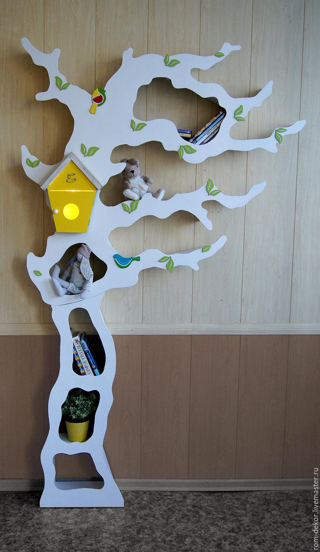 Детская ручной работы. Ярмарка Мастеров - ручная работа. Купить Асимметричное дерево-стеллаж для детской комнаты. Handmade. Белый