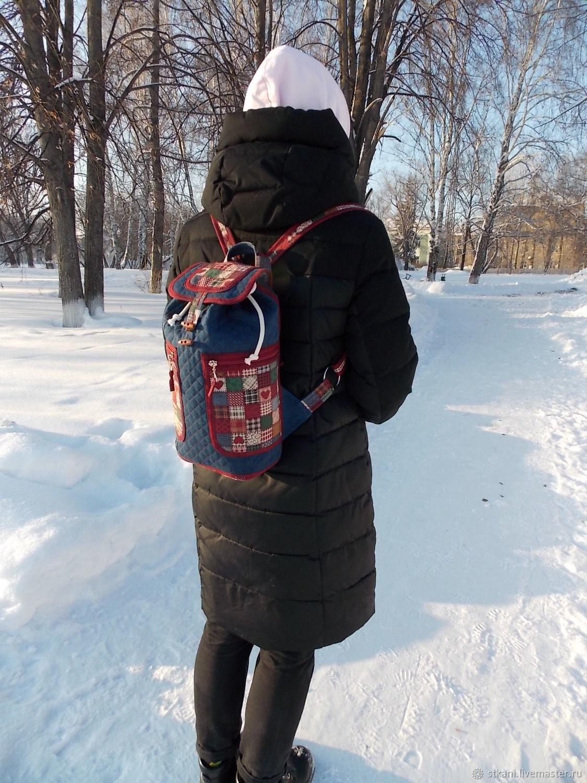 Джинсовый рюкзак, Сердечки, Городской, Стёганый, Небольшой, Эко, Рюкзаки, Новосибирск,  Фото №1