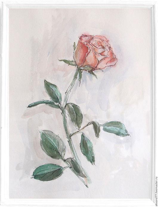 Картины цветов ручной работы. Ярмарка Мастеров - ручная работа. Купить роза. Handmade. Комбинированный, картина в подарок, картина