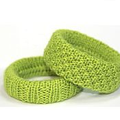 Украшения handmade. Livemaster - original item Knitted bangles ( 2 PCs) Green Apple.. Handmade.