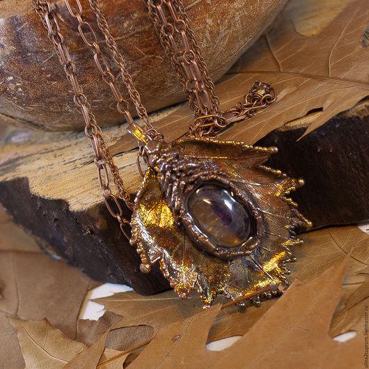 Кулоны, подвески ручной работы. Ярмарка Мастеров - ручная работа. Купить Кулон из меди Виноград. Handmade. Коричневый, кулон на цепочке