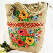 Сумки и аксессуары handmade. Livemaster - original item Bag shopper burlap Jute summer bag Embroidered fabric bag. Handmade.