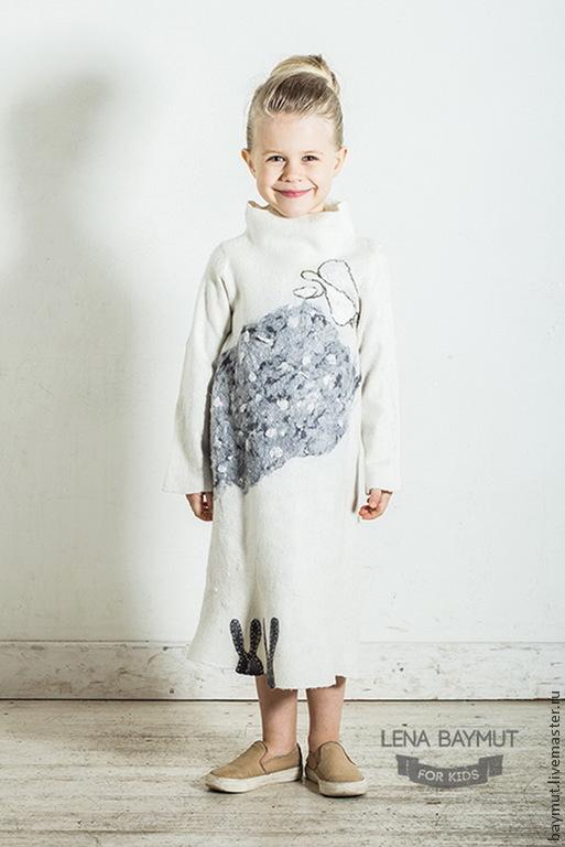 """Одежда для девочек, ручной работы. Ярмарка Мастеров - ручная работа. Купить Валяное платье """"Снежный ангел"""". Handmade. Белый"""