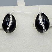 Украшения handmade. Livemaster - original item Silver earrings with black onyx and cubic zirconia. Handmade.
