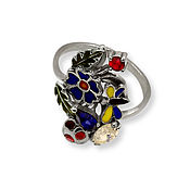 "Украшения handmade. Livemaster - original item Ring ""Summer"" with enamel and silver stones. Handmade."