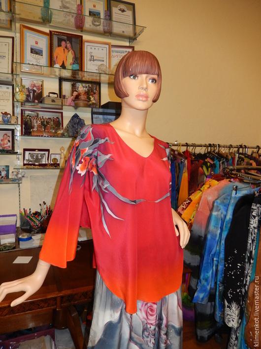 Блузки ручной работы. Ярмарка Мастеров - ручная работа. Купить блуза Страсть и орхидеи. Handmade. Ярко-красный, хендмейд, орхидеи