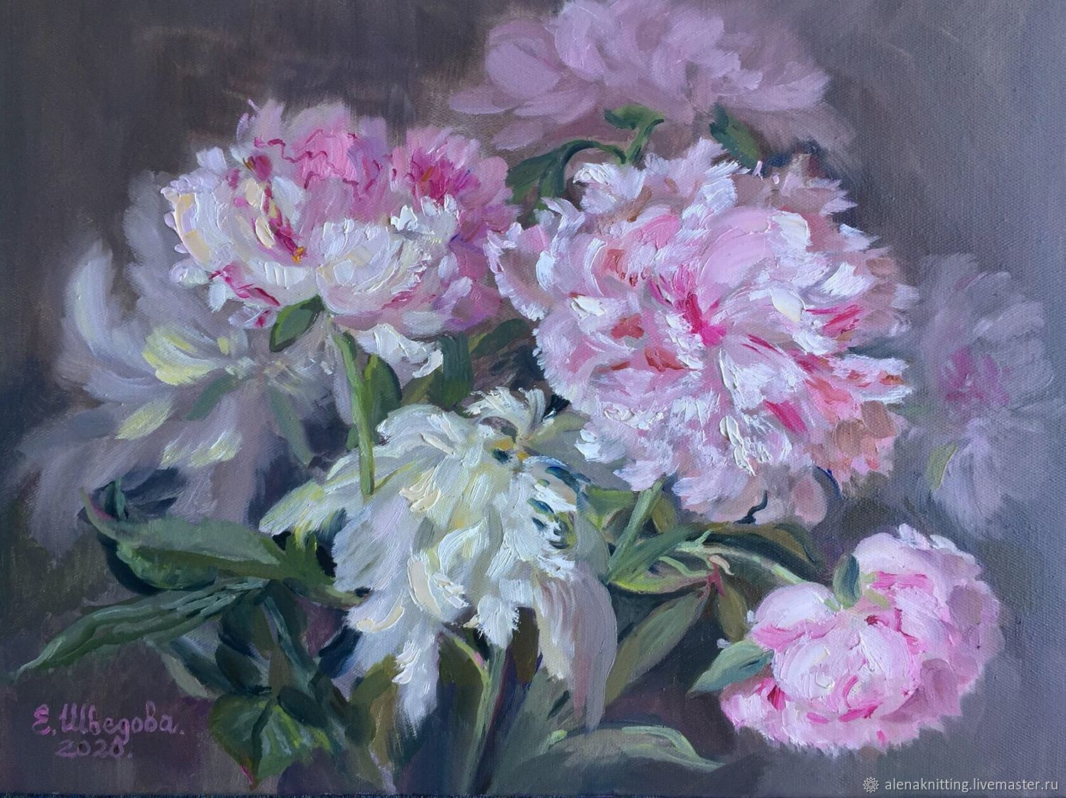 Oil painting ' the Tenderness of peonies», Pictures, Moscow,  Фото №1