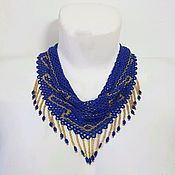 Украшения handmade. Livemaster - original item Necklace kerchief beaded inky blue