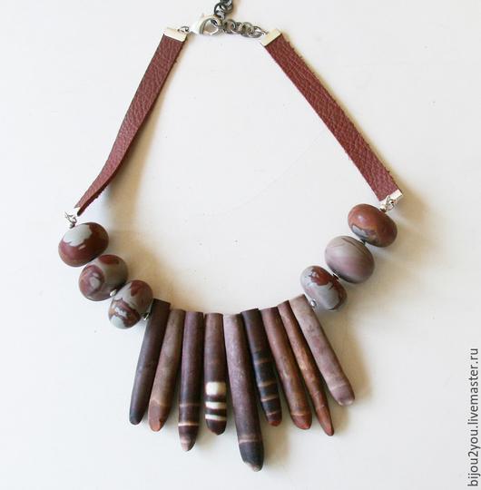 Колье, бусы ручной работы. Ярмарка Мастеров - ручная работа. Купить African. Handmade. Бордовый, крупное украшение, африканский стиль