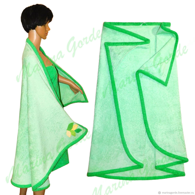 Полотенце-накидка с кармашками и декором, Текстиль для бани, Омск,  Фото №1