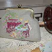 Сумки и аксессуары handmade. Livemaster - original item Cosmetic bag with Clasp embroidery on linen Paris. Handmade.