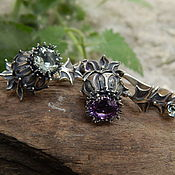 Украшения handmade. Livemaster - original item Thistle earrings with different amethysts. Handmade.