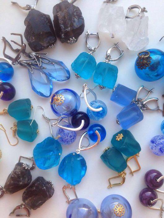 Серьги ручной работы. Ярмарка Мастеров - ручная работа. Купить Синий .. Голубой..лиловый. Handmade. Серьги, подарок подруге, бирюзовый