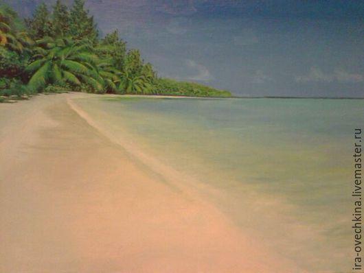 Пейзаж ручной работы. Ярмарка Мастеров - ручная работа. Купить Море пальмы пляж. Handmade. Бирюзовый, пляж, море