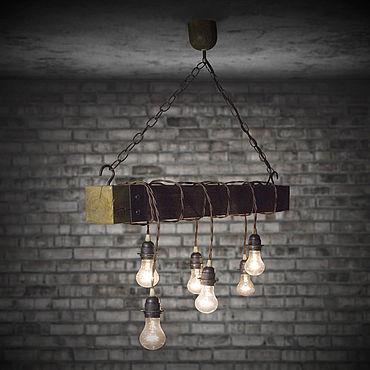 Освещение ручной работы. Ярмарка Мастеров - ручная работа Люстра в стиле лофт из дерева с подвесными лампами. Handmade.