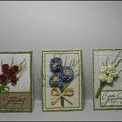 Открытки ручной работы. Ярмарка Мастеров - ручная работа Открытка-картинка с букетиком цветов. Handmade.