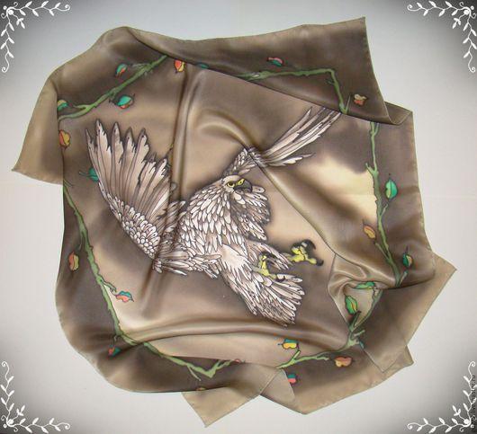 """Шарфы и шарфики ручной работы. Ярмарка Мастеров - ручная работа. Купить Шелковый платок """"Прекрасная птица"""" батик. Handmade. Коричневый"""