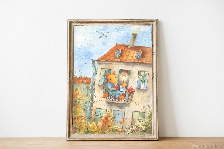 Лисички на балконе. Осень. Жикле, Картины, Санкт-Петербург,  Фото №1