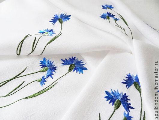 Салфетка с вышивкой  `Васильки` `Шпулькин дом` мастерская вышивки