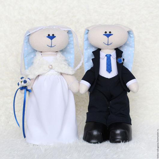 Подарки на свадьбу ручной работы. Ярмарка Мастеров - ручная работа. Купить Свадебные зайцы. Handmade. Синий, Зайчик Тильда, пряжа