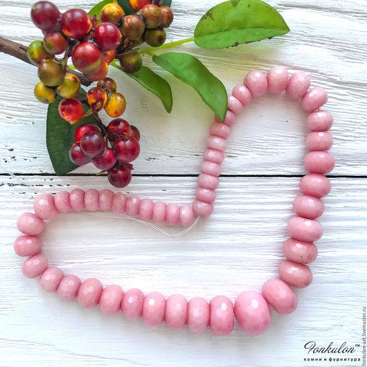 Для украшений ручной работы. Ярмарка Мастеров - ручная работа. Купить Кварцит Нежно-Розовый Рондель (градуированная нить) бусины с Огранкой. Handmade.
