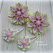 Украшения handmade. Livemaster - original item The bands of satin ribbon Mint fairy tale in the technique of kanzashi. Handmade.