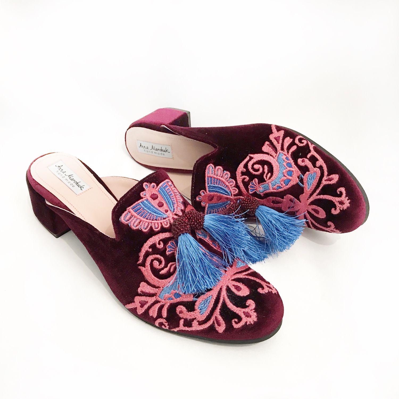 """Обувь ручной работы. Ярмарка Мастеров - ручная работа. Купить Мюли """"Восточная сказка» - бордовые на каблуке. Handmade. Цветы"""
