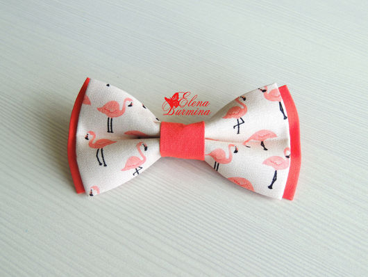 Галстуки, бабочки ручной работы. Ярмарка Мастеров - ручная работа. Купить Бабочка галстук розовый фламинго, хлопок. Handmade. Коралловый