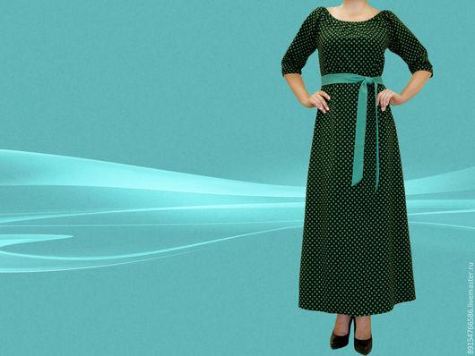 Платья ручной работы. Ярмарка Мастеров - ручная работа. Купить платье-крестьянка. Handmade. Черный, платье в горошек