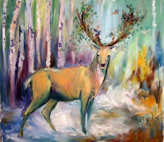 Животные ручной работы. Ярмарка Мастеров - ручная работа. Купить Лесной житель. Handmade. Мятный, животные, фантазии, картина в подарок