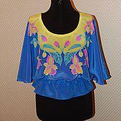 "Одежда ручной работы. Ярмарка Мастеров - ручная работа Шелковая блуза ""Цветы"". батик. Handmade."