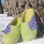 Обувь ручной работы. Ярмарка Мастеров - ручная работа Валяные тапочки р.39-40 Фиалки 2. Handmade.