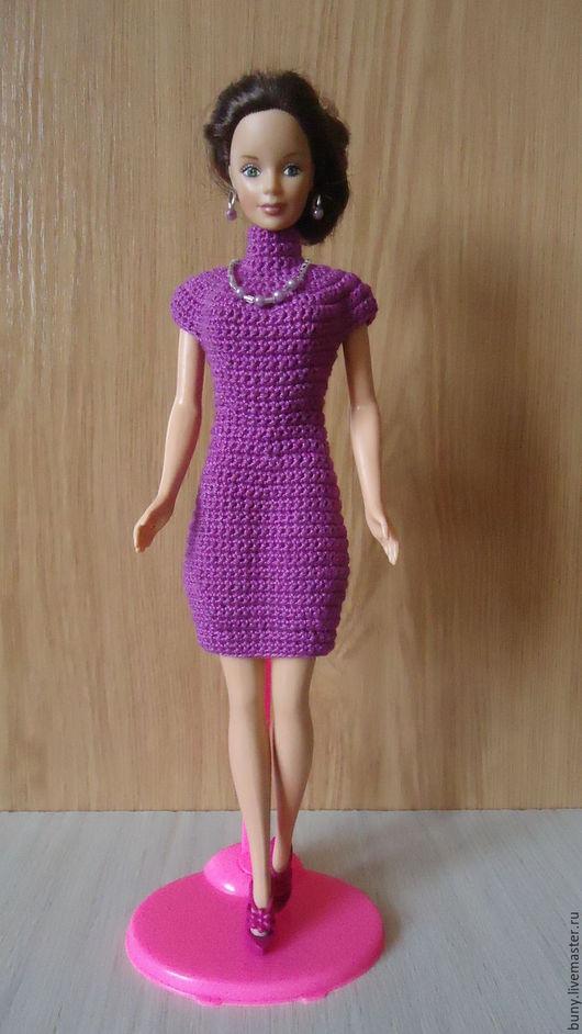 Одежда для кукол ручной работы. Ярмарка Мастеров - ручная работа. Купить Сиреневое платье с кокеткой и воротником стойкой. Handmade. Сиреневый