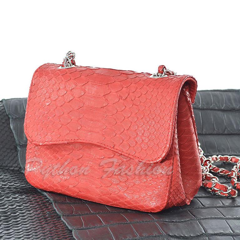 Handbag made of Python skin. A handbag made of Python skin. Pimonova purse cross body on a long chain. Easy handbag made of Python handmade. Stylish shoulder bag. Bright handbag from Python
