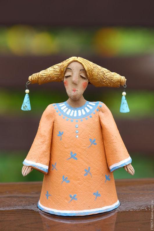 """Колокольчики ручной работы. Ярмарка Мастеров - ручная работа. Купить Колокольчик """"Осенняя пора"""". Handmade. Оранжевый, колокольчик, осень, барышня"""