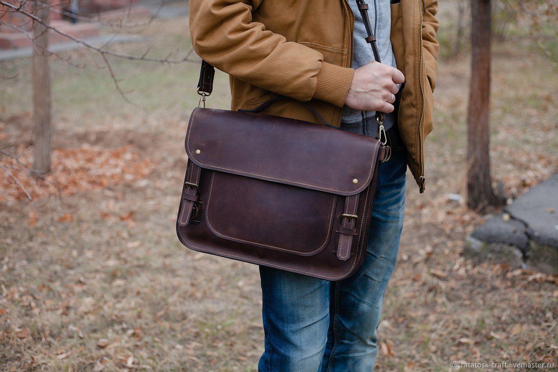 Leather men's MARTIN briefcase, Men\'s bag, Volgograd,  Фото №1