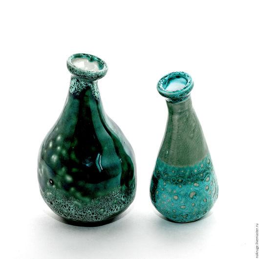Вазы ручной работы. Ярмарка Мастеров - ручная работа. Купить Комплект декоративных вазочек. Handmade. Зеленый, ваза декоративная, изумрудный