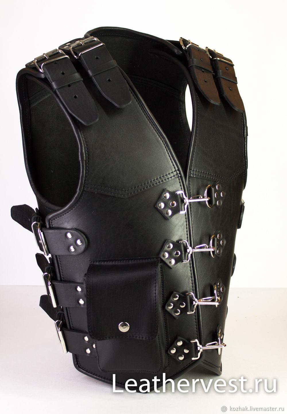 Motorcycle leather vest, Mens vests, Glazov,  Фото №1