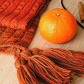 """Аксессуары ручной работы. Ярмарка Мастеров - ручная работа Шаль с кисточками """"Autumn Spices"""" (100% шерсть). Handmade."""