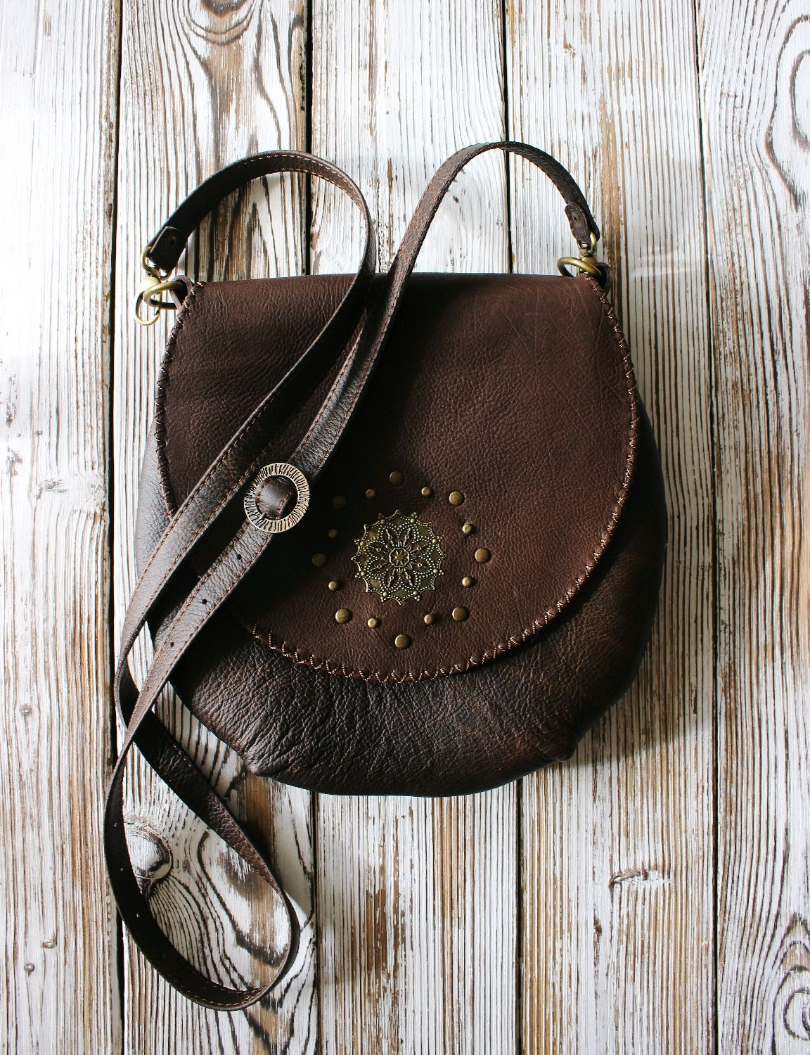 Bag made of genuine leather in the style of boho ' Chervonnaya', Classic Bag, St. Petersburg,  Фото №1