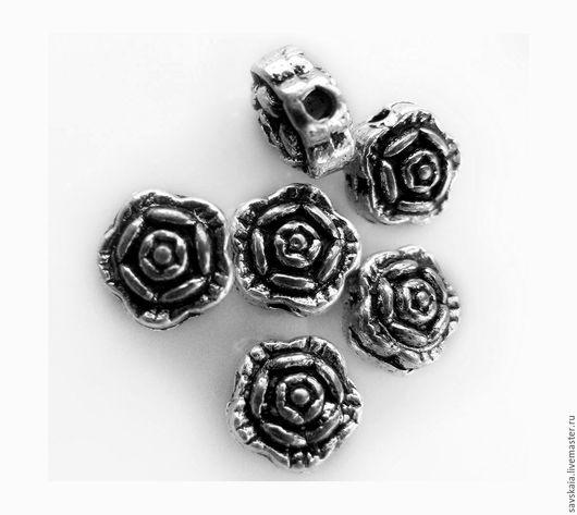 Бусины металлические  Цвет античное серебро с узором  Цветок