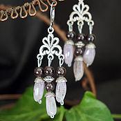 Украшения handmade. Livemaster - original item Long earrings with amethysts and garnet. Handmade.