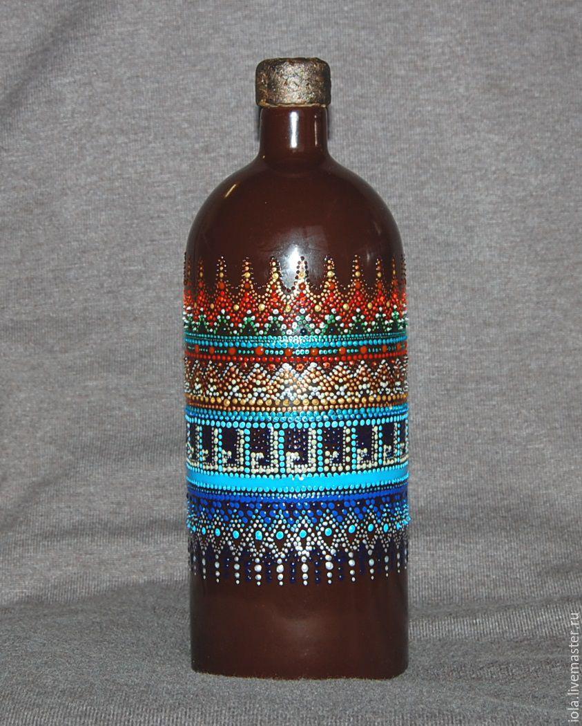 Бутылка керамическая с точечной росписью