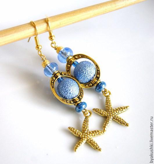 серьги `Голубая морская звезда` длинные