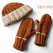 Аксессуары handmade. Livemaster - original item Set hat mittens ginger. Handmade.