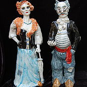 Для дома и интерьера handmade. Livemaster - original item Alice the Fox and Basilio the cat.Ceramic sculpture.. Handmade.