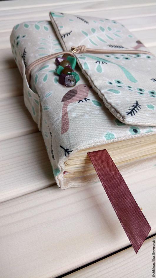 Блокноты ручной работы. Ярмарка Мастеров - ручная работа. Купить Софт бук с птичками. Handmade. Мятный, ручная работа, штампинг